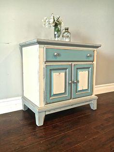 Shabby Chic Gray, Cream, Blue & Silver End Table - Custom Order for Kristi