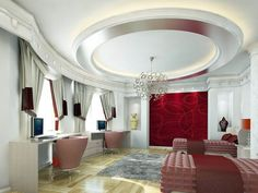 If you are planning to renovate your bedroom interior then you should also decide a good ceiling design for your bedroom. Here are the best modern bedroom ceiling design for you. Pvc Ceiling Design, Ceiling Design Living Room, Bedroom False Ceiling Design, Bedroom Ceiling, Living Room Designs, Ceiling Ideas, Interior Rendering, Home Interior Design, Room Interior