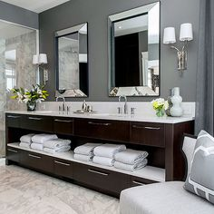 color combos for master bath Atmosphere Interior Design - bathrooms - gray walls, gray wall color, white marble floor tile, white marble tiled floors, white marble showe. - Daily Home Decorations Bad Inspiration, Bathroom Inspiration, Bathroom Ideas, Modern Bathroom, Minimalist Bathroom, Bathroom Colors, Bathroom Designs, Dream Bathrooms, Beautiful Bathrooms