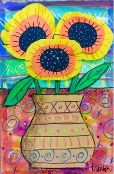 The Lost Sock Floral Art - crayon resist background, cut paper vase, stems, flowers.