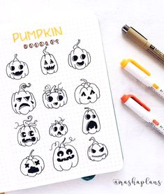 "Drawing Doodles Ideas ig@mashaplans: ""The spooky month is almost upon us, and of course pumpkins are a very important part of it! To add some variety, I've decided to create this spread with pumpkin doodle ideas. ⠀ Hope this will be as useful for you as it was for me. Oops, was that my October theme spoiler? �������� ⠀ What's your favorite things about the upcoming month?"" -"