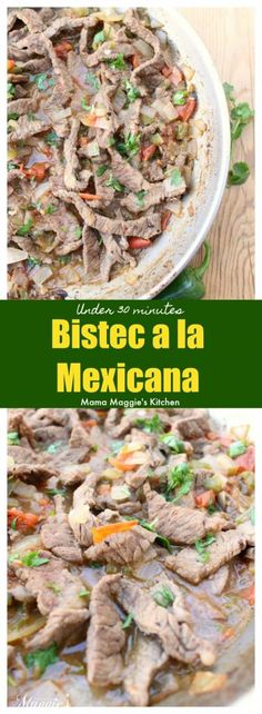 Bistec a la Mexicana is a delicious and savory Mexican dish. It is made of beef in a spicy tomato sauce and ready in under 30 minutes. Typically served with rice, beans, and corn tortillas. by Mama Maggie's Kitchen via @maggieunz #mexicanfood #mexicanrecipes #beef #recipes