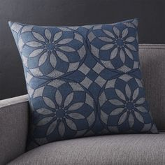 Traditional Indian textile motifs scale and go graphic, printed in beautiful blues and metallic accents. Pillow reverses to solid blue. Our decorative…
