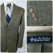 Austin Reed 40r Sport Coat Mens Blazer 2 Button Checks Wool Beige Usa Flaw Sport Coat Austin Reed Short Sleeve Dress Shirt