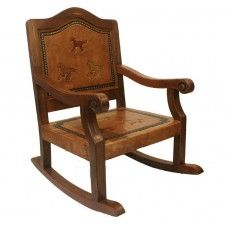 Spanish Rustic Kid's Rocking Chair Antique Brown