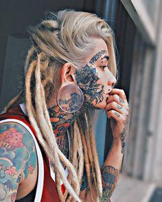 Top Girls Face Tattoos [Latest Design] - Tattoos for Girls Girl Face Tattoo, Hot Tattoo Girls, Tattoed Girls, Inked Girls, Facial Tattoos, Head Tattoos, Body Art Tattoos, Girl Tattoos, Portrait Tattoos