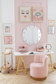 Bedroom Decor Discover Customize-It Simple A-Frame Desk Retro Home Decor, Home Office Decor, Dream Rooms, Dream Bedroom, Beautiful Bedrooms, Beautiful Mirrors, New Room, Home Collections, Girl Room