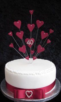 40th Ruby Wedding Anniversary Birthday Cake Topper Suitable For A 20cm Amazoncouk Kitchen Home