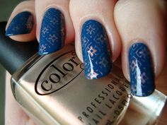 Color Club Baldwin Blues with Sugar Rays stamping (MoYou Artist 04 plate) *click for more*