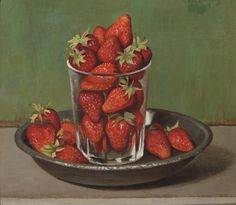 Strawberries by Gerard Victor Alphons Röling (Dutch, 1904-1981), oil on paintersboard, 24.5 x 27.5 cm