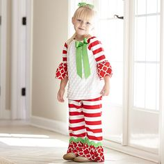 Girls White Minky Red Lattice Stripe Pant Set – Lolly Wolly Doodle