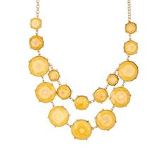 Natasha Accessories Faceted Round Necklace (290 ZAR) ❤ liked on Polyvore featuring jewelry, necklaces, yellow, natasha accessories jewelry, yellow bib necklace, bib jewelry, chains jewelry and facet jewelry