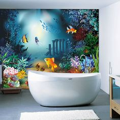 Hey, I found this really awesome Etsy listing at https://www.etsy.com/listing/165350490/children-room-bathroom-underwater-world