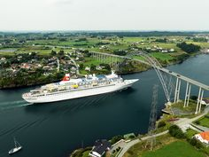 Black Watch cruising Karmsund bridge, Karmsundet, Norway