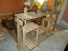 DIY Creative Pallet Console Table - Kitchen Island Table!! | 99 Pallets