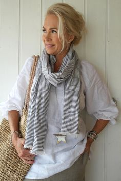 HANKO Linen scarf, STRIPED - Scarfs - By Pia's Design