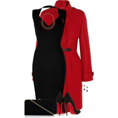Long Red Coat and a Black Dress for Christmas, created by cnh92 on Polyvore