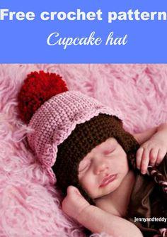 Cupcake crochet hat free pattern.