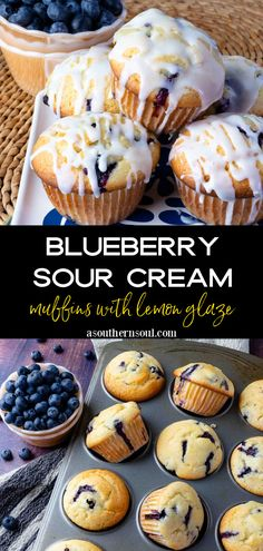 This easy, baked from-scratch recipe makes the BEST Blueberry Sour Cream Muffins that have a pop of fresh lemon flavor. Soft tender muffins loaded with juicy blueberries topped with a sweet lemony glaze are everyone's favorite homemade treat! Blueberry Cream Cheese Muffins, Sour Cream Muffins, Sour Cream Cake, Lemon Muffins, Chocolate Chip Muffins, Blue Berry Muffins, Muffin Recipes, Snack Recipes, Dessert Recipes