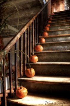 "I love to see pumpkins on stair cases! This photo should maybe be cached away on my ""Sleepy Hollow"" board, too, huh? :)"