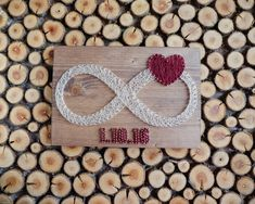 Infinity string art decor with custom dates and red heart decor. Put your (or your friends) special dates on your wall with style :) Made with high quality golden nails and threads which makes finished product more elegant and sophisticated. This could be a great gift for a bridal shower,