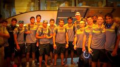 Can you spot the #headphones among the #Hyderabad #SunRisers. Do you know what type of headphones they are? #IPL2013