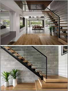 Wood stairs with a steel frame lead up to the second floor of this modern house, where there's a bridge connecting the bedrooms. stairs The Design Of 'The Riviera' Is Focused On Indoor/Outdoor Living And Space For Entertaining Home Stairs Design, Modern House Design, Home Interior Design, Stair Design, Modern Stairs Design, Wood House Design, Modern Exterior, Small Modern Houses, Modern House Interior Design