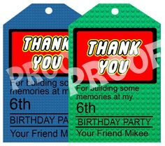 choose one color lego brick personalized thank you card with age and name. size 4 inches wide and 6 inches tall - Trend Photography Lego 2019 Lego Movie Party, Lego Birthday Party, 4th Birthday Parties, Boy Birthday, Birthday Ideas, Happy Birthday, Printable Birthday Banner, Personalized Birthday Invitations, Personalized Thank You Cards