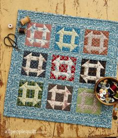 Quilts and More Fall 2016 Mini Makeover, made by Jody Sanders. Fabrics are from the Postage Stamp collection by Mary Koval for Windham Fabrics.