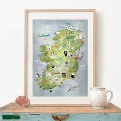 große Illustrierte Karte Irland großer Druck Irland Poster
