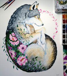 Wolf and Cub - Mixed Media Animal Paintings and Drawings by Jonna Lamminaho - tat ideas - Art Art Drawings Beautiful, Cool Drawings, Tattoo Drawings, Simple Drawings, Realistic Drawings, Kawaii Drawings, Sketch Tattoo, Animal Paintings, Animal Drawings