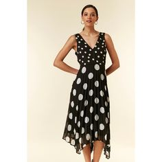 Wallis Black Polka Dot Pleated Midi Dress | Debenhams Pleated Midi Dress, Pink Accessories, Debenhams, Occasion Wear, Black Heels, Going Out, Polka Dots, Elegant, Casual