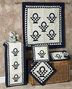 Basket Navy Off White Quilts | Choices Quilts offers Basket Navy Off White Quilts handmade for you! You can shop online or call us toll-free @ 1-800-572-2070 or 770-641-9700.
