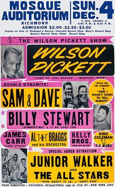 Concerts & Music – Page 5 Rock Posters, Band Posters, Event Posters, Vintage Concert Posters, Vintage Posters, Sam & Dave, Wilson Pickett, Music Images, Blues Music