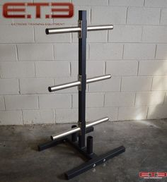 VERTICAL BUMPER PLATE TREE W/ 2 BAR HOLDERS
