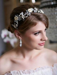 Ivory Enamel Flower Hair Crown by GildedShadows