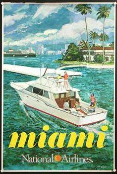 Miami • National Airlines #travel #poster (1960s) / for more inspiration visit http://pinterest.com/franpestel/boards/