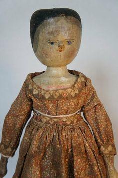 "Antique wooden Grödnertal doll 16"" circa 1885"