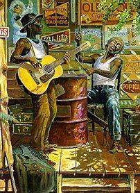"""Delta Blues"" ~ by John Carroll Doyle Music Artwork, Art Music, African American Art, African Art, Art Beauté, Black Art Pictures, Jazz Art, Delta Blues, Blue Poster"