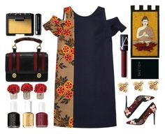 """""""MSGM Dress"""" by juliehalloran ❤ liked on Polyvore featuring MSGM, NOVICA, Piccadilly, NARS Cosmetics, Tiffany & Co., Alice + Olivia, Gucci, Marc Jacobs, The French Bee and Essie"""