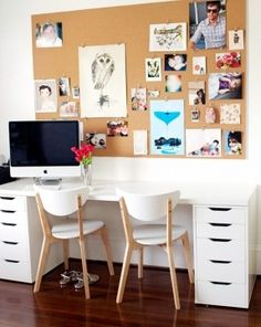 IKEA VIKA ALEX drawer unit in white, VIKA AMON table top in white, NORDMYRA chairs in white/birch