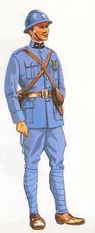 La tenue pendant la campagne 1914-1918 a été fixée par la notice descriptive du 9 décembre 1914. L'innovation majeure est le remplacement définitif de la tunique par la vareuse, vêtement moins ajusté, sans patte de parement mais garni de poches, ainsi...