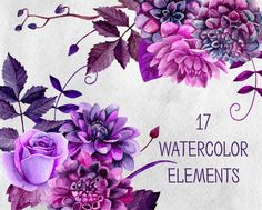 Watercolor flowers Purple flowers Wedding clipart by RemiPapers