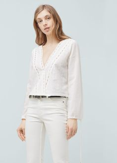 Embroidered cotton blouse - Shirts for Women | MANGO USA