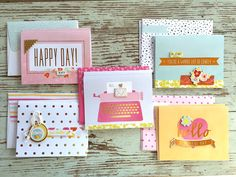 Mish Mash: Simple notecards with coordinating envelopes. Project Life, Envelope Punch Board, Mish Mash, Happy Day, Envelopes, Note Cards, Handmade Cards, Gift Tags, Embellishments