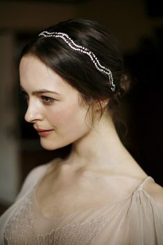 Lyra Headwrap by Jennifer Behr :: Photography by Belathée :: Vintage Dress :: wedding :: headband :: bride :: crystal