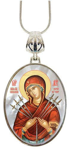 Virgin Mary of the Seven Sword Oval Charm Pendant, Museum Icon Handcrafted Jewelry Collection Silver Plated mother-of-pearl, Religious 053 by @Iconartbyhand on @Etsy #Icon #Virgin #Mary #Sword #Mother #Faith #Iconic #Jewelry #Pendent #Necklace #Silver