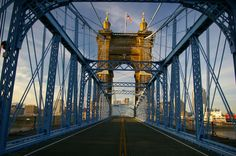 The beautiful Roebling Suspension Bridge connects Cincinnati and Covington, Kentucky. At its creation in 1867, the bridge was the longest suspension bridge in the world. You might recognize the name of the designer, Roebling, who went on to design the Brooklyn Bridge in New York.