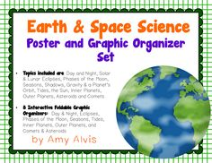 Earth & Space Science Poster and Graphic Organizer Set - Planets - Eclipse - Tides - Seasons, $