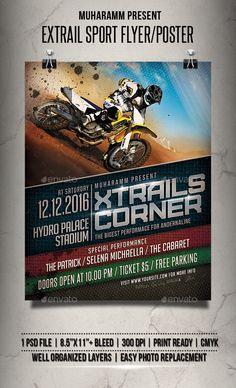 Extrail Sport Flyer / Poster by muharamm Extrail Sport flyer templates or poster templates designed to promote any kind of music event, concert, festival, party or weekly